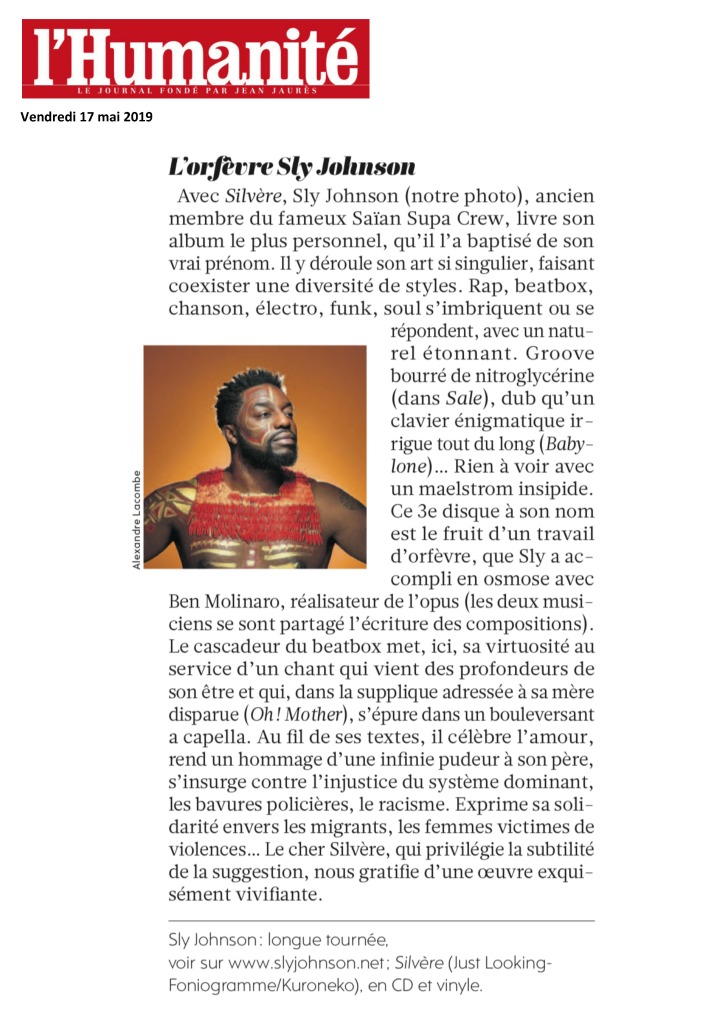 L'Humanité Sly Johnson Mai 2019